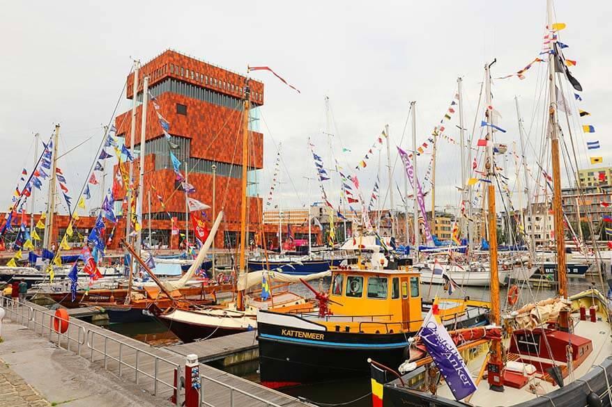 MAS museum and boats of Eilandje district in Antwerp Belgium
