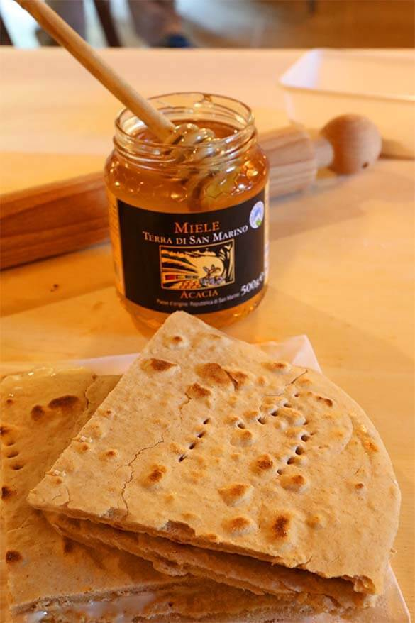 Piadina bread with cheese and honey - made in a cooking class in San Marino
