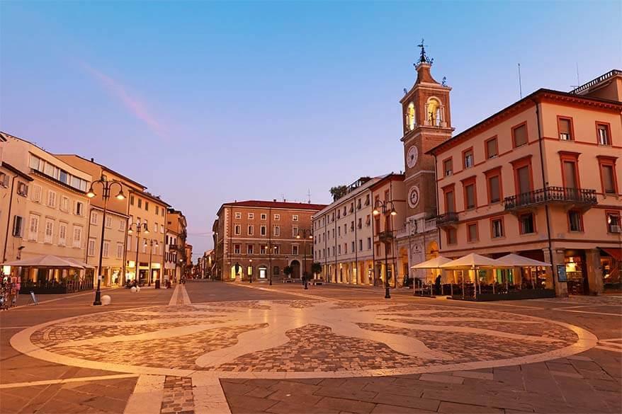 Piazza Tre Martiri in Rimini Italy