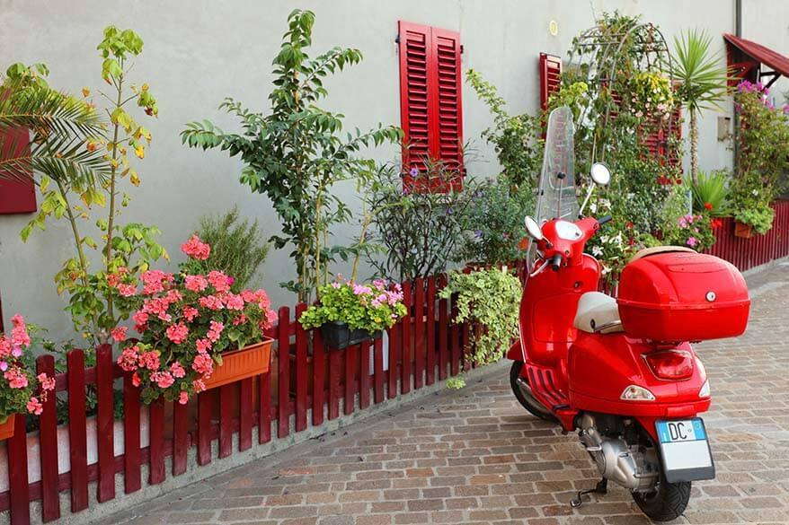 Red Vespa in Italy