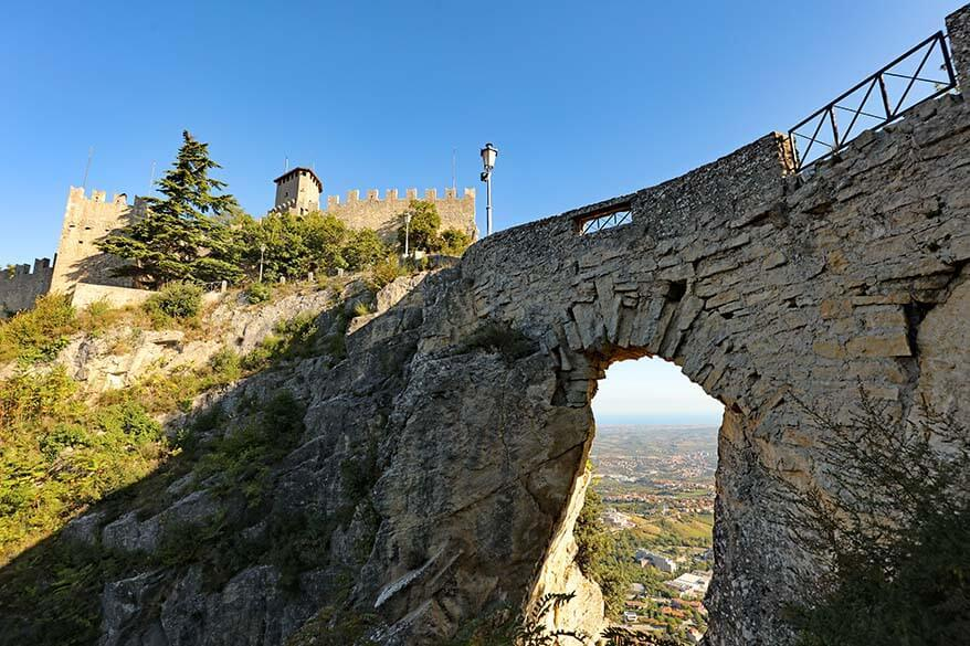 San Marino Guaita tower and a bridge over the Witches Path to Falesia tower