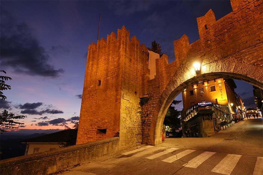 San Marino city gate at Via della Fratta