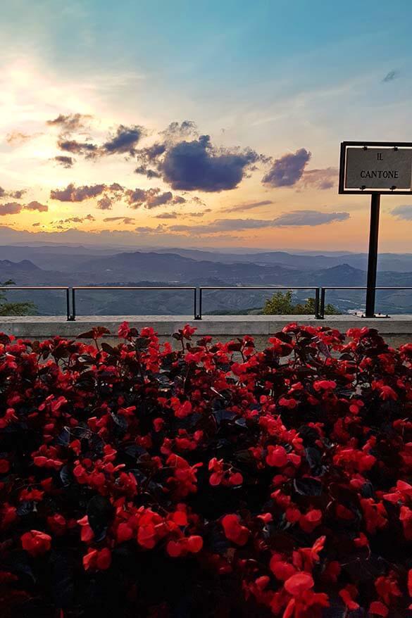 San Marino sunset at Il Cantone viewpoint near San Marino cable car