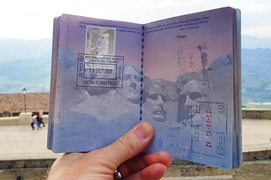 San Marino tourist visa and stamp in an American passport - visiting the Republic of San Marino