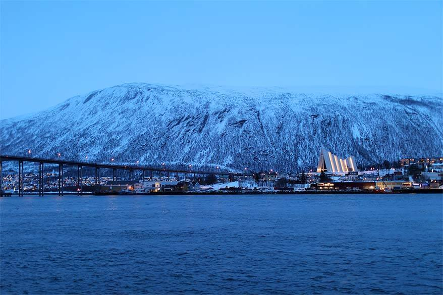 View over Arctic Cathedral from Tromso harbor