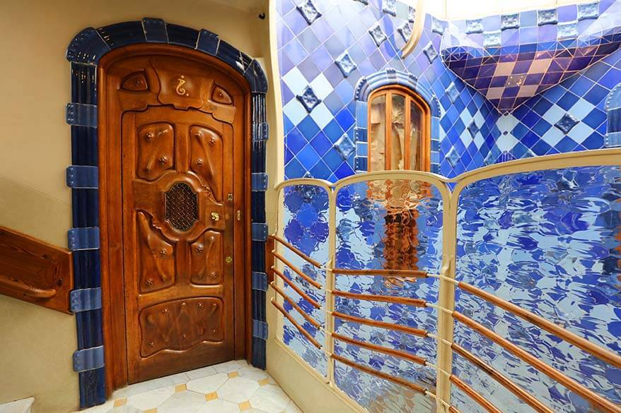 Beautiful interior of one of most famous Gaudi buildings in Barcelona - Casa Battlo