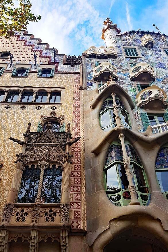 Casa Amatller and Casa Battlo on Passeig de Gracia in Barcelona