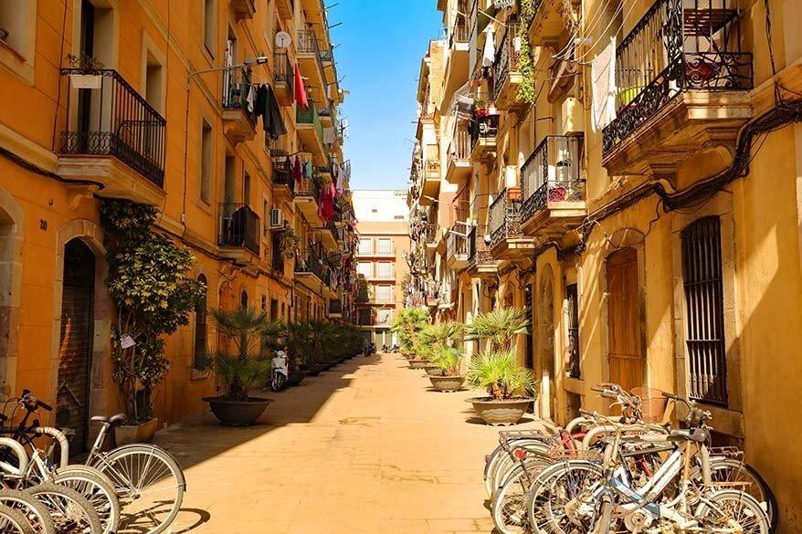 Charming streets of La Barceloneta district in Barcelona Spain