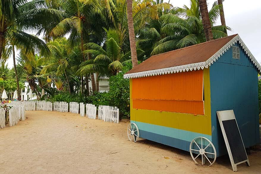 Colorful food trucks at the beach of The Ravenala Attitude resort in Mauritius