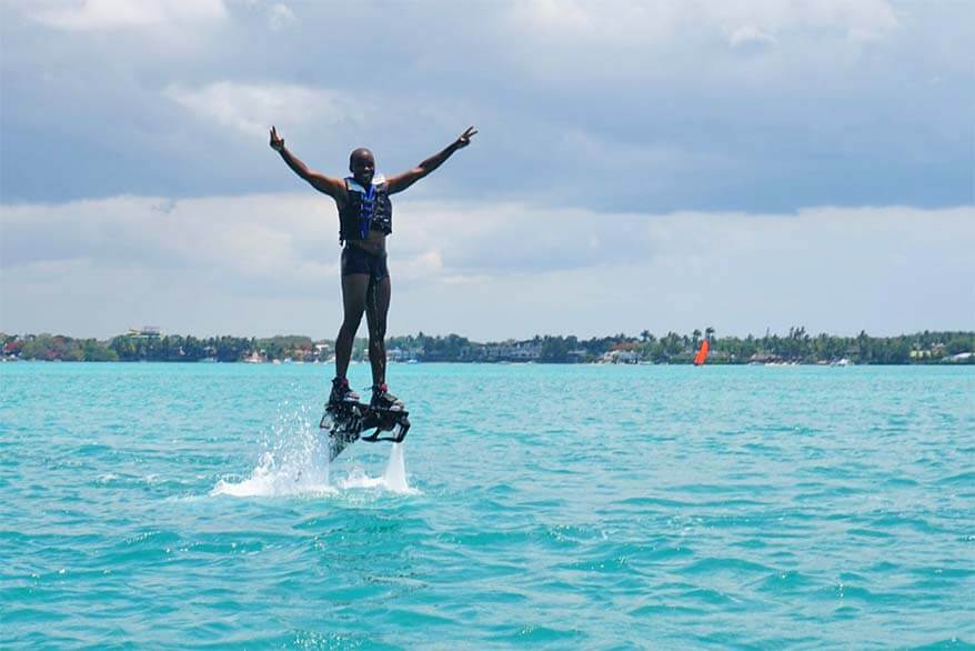 Flyndive or flyboarding - one of the fun things to do in Mauritius