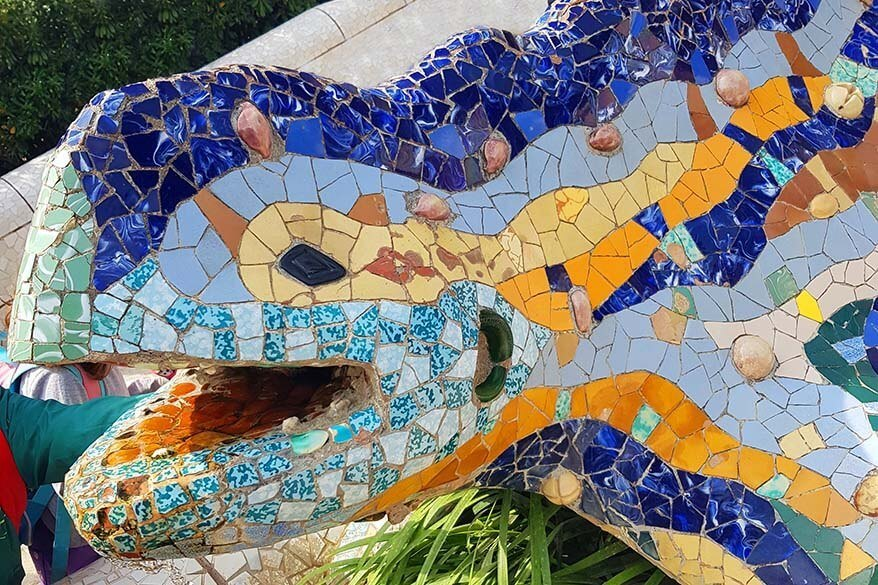 Gaudi dragon fountain at Guell Park in Barcelona