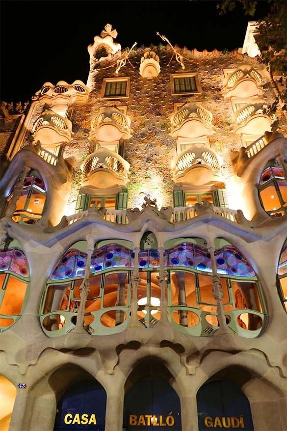 Gaudi's Casa Battlo in Barcelona lit in the dark