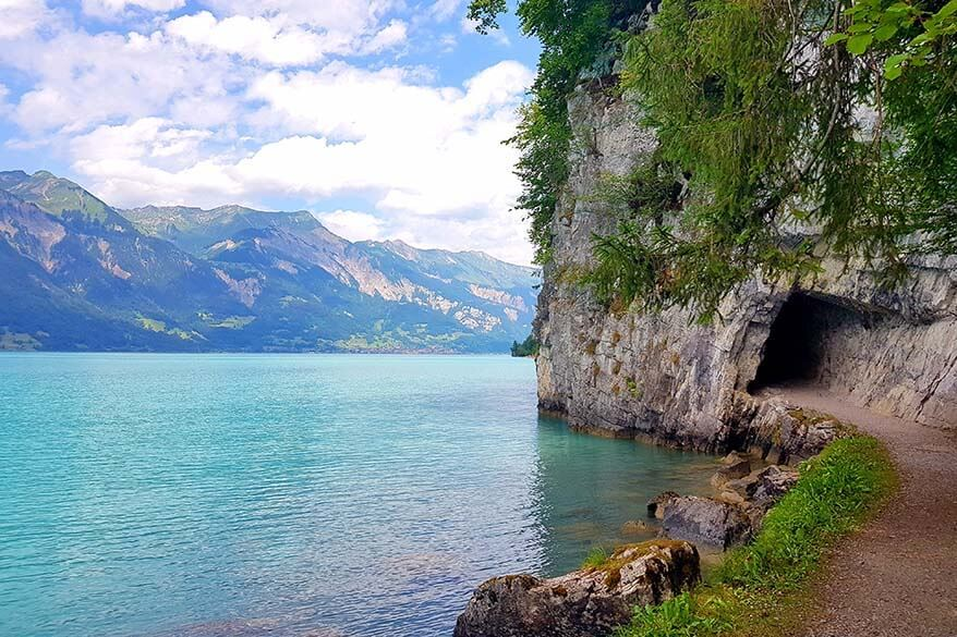 Giessbach to Iseltwald lakeshore hiking trail near Lake Brienz in Switzerland