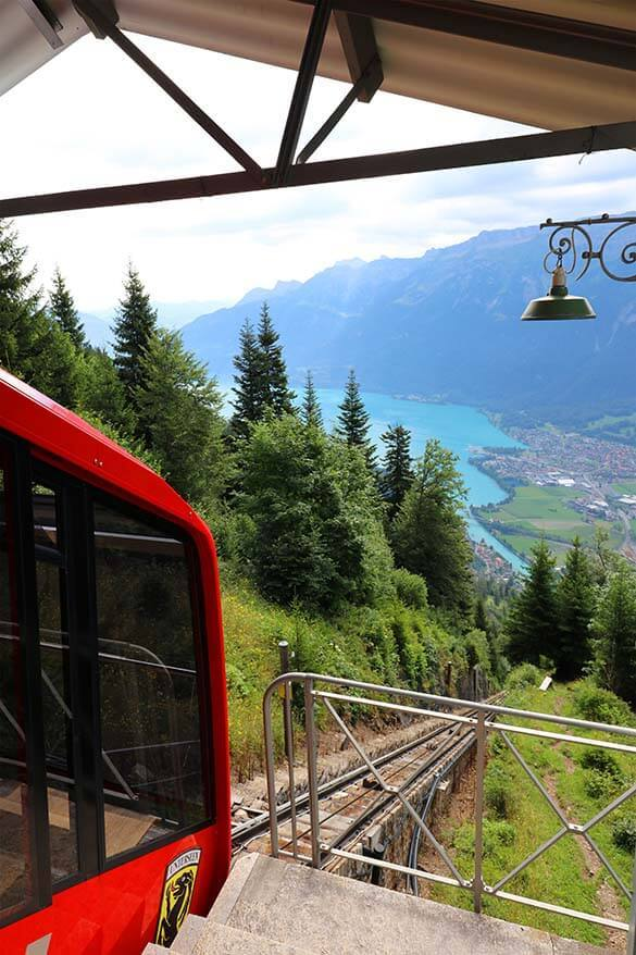 Harder Kulm funicular with view over Brienzersee and the mountains