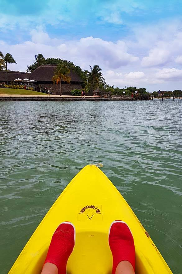 Kayaking at Baie aux Tortues bay on the west coast of Mauritius