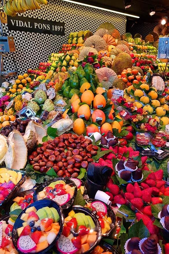 Mercado de La Boqueria - the most popular market in Barcelona Spain