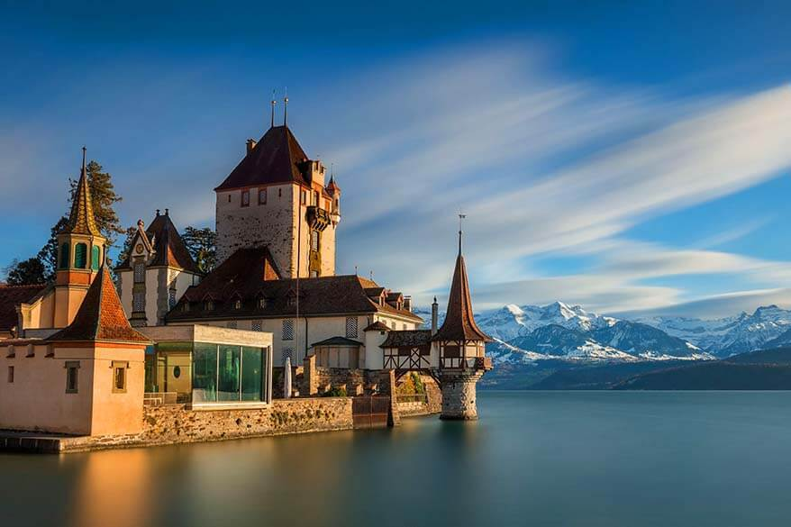 Oberhofen castle along Lake Thun is a great place to see when visiting Interlaken