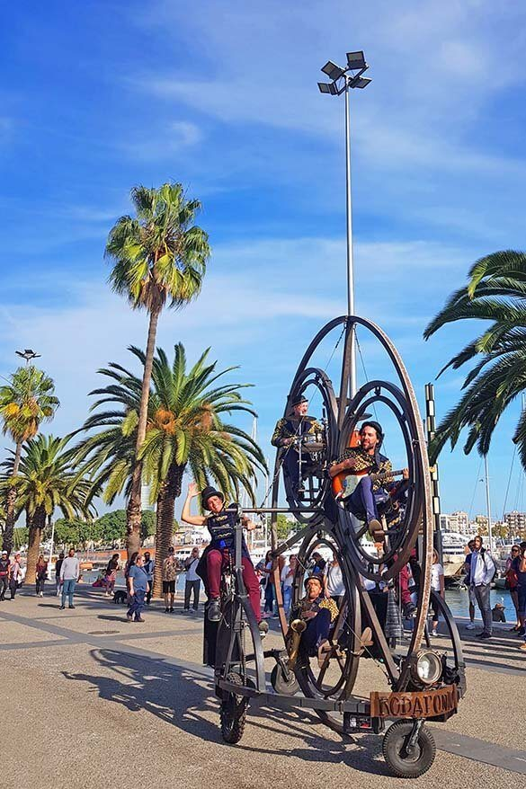 Port Vell in Barcelona is a lively place on weekends