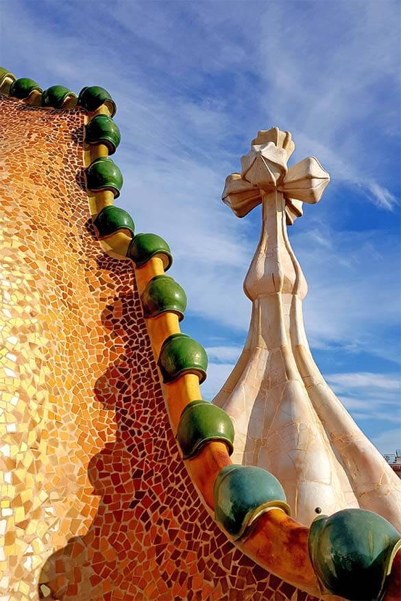 Roof of Casa Battlo as seen on a tour of this famous Gaudi house in Barcelona