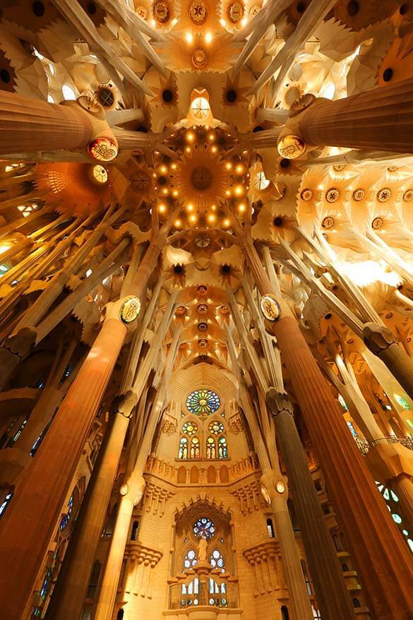 Sagrada Familia is the most beautiful of Gaudi buildings in Barcelona