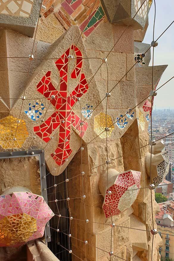 Sagrada Familia tower with Gaudi architectural details