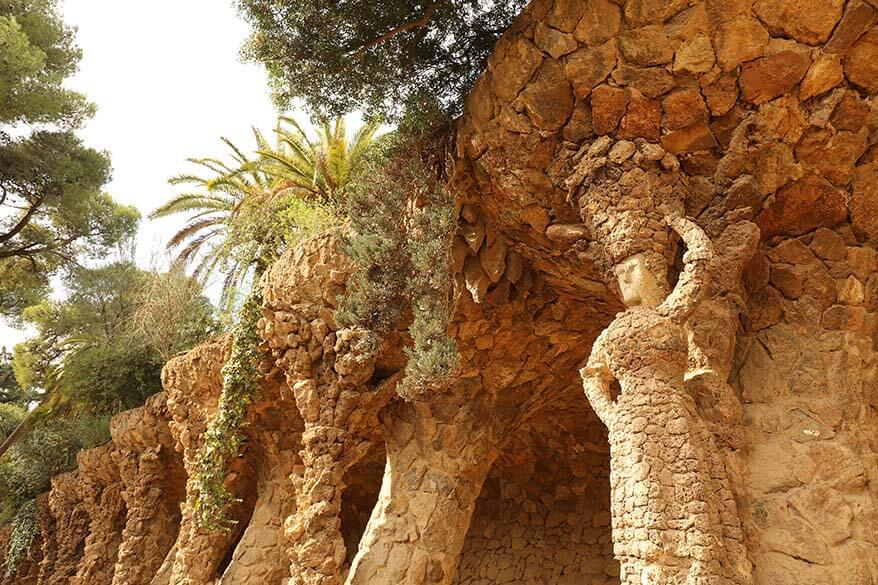 Sculptures and a garden designed by Gaudi in Park Guell in Barcelona