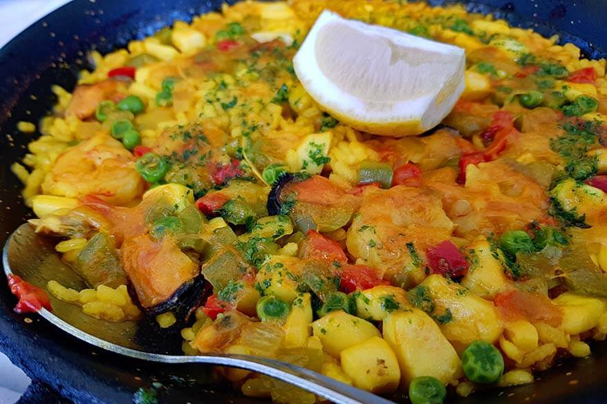 Spanish seafood Paella at a local restaurant in Barcelona