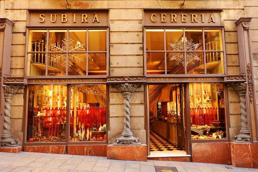 Subira Cereria - oldest shop in Barcelona
