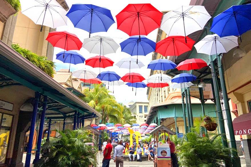 Umbrella street at the Caudan Waterfront in Port Louis, Mauritius