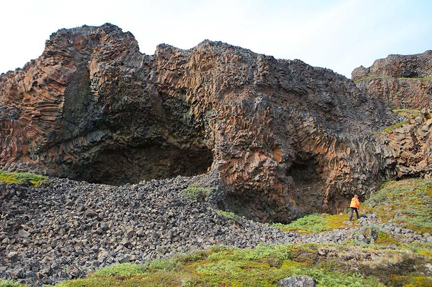 Basalt columns in Qeqertarsuaq on Disko Island in Greenland