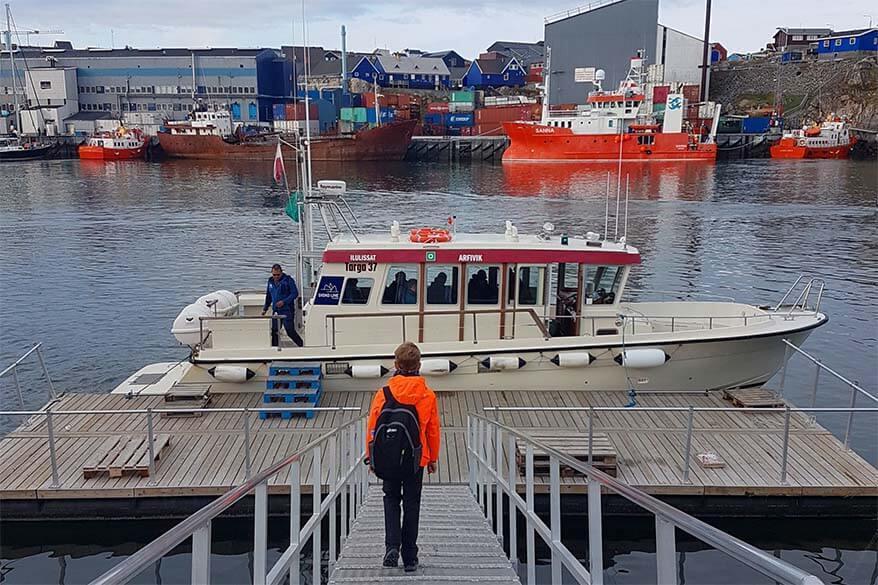 Boat from Ilulissat to Qeqertarsuaq in Greenland