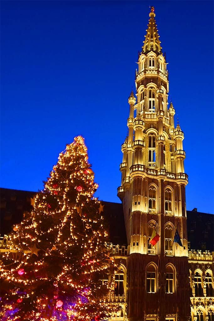 Brussels Christmas tree and the tower of City Hall