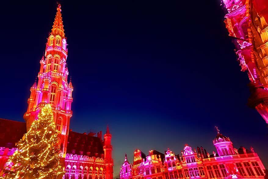 Brussels Grand Place light show in winter