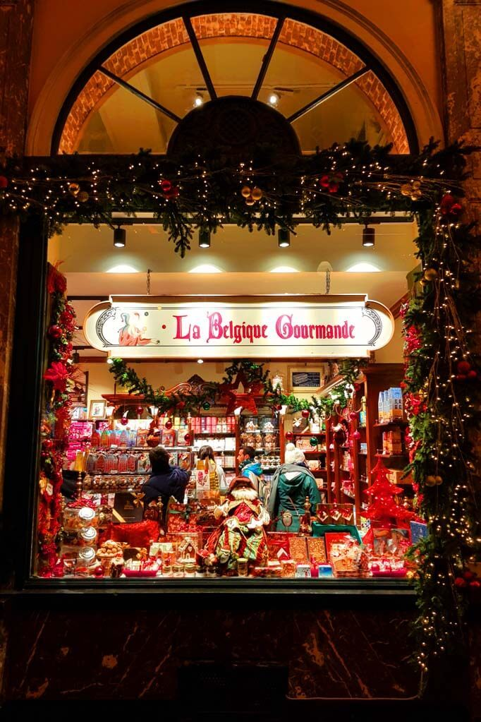 Christmas decorations at La Belgique Gourmande shop in Brussels