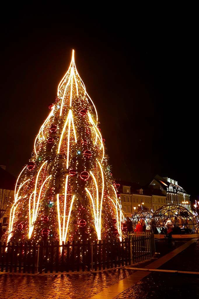 Christmas tree at the Town Hall Square (Rotuses aikste) in Vilnius Lithuania