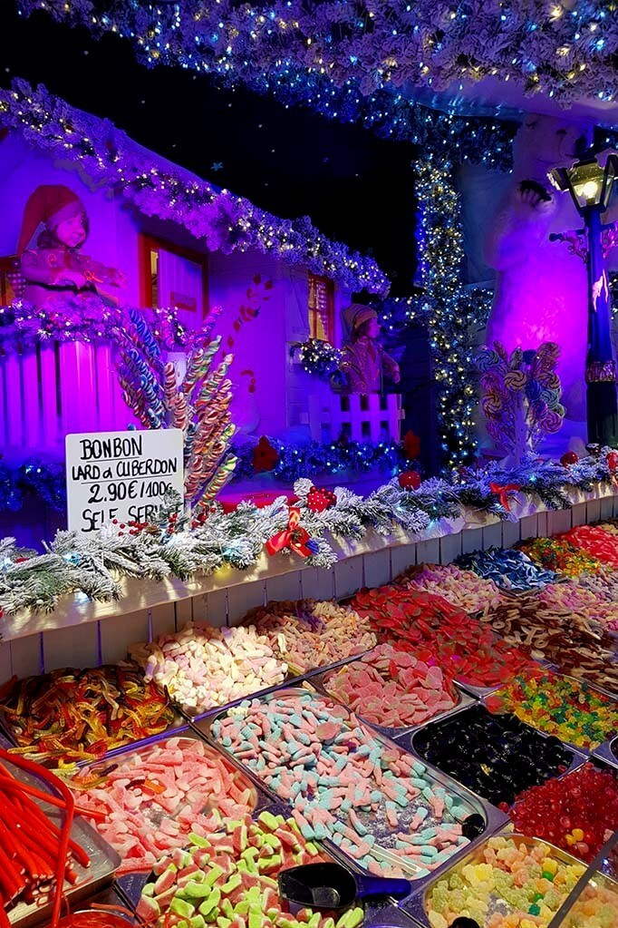 Colorful sweets for sale at the Brussels Christmas market