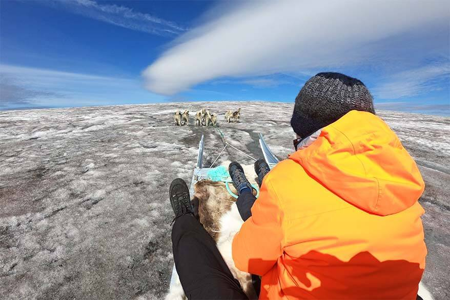 Dog sledding on Lyngmark Glacier on Disko Island in Greenland
