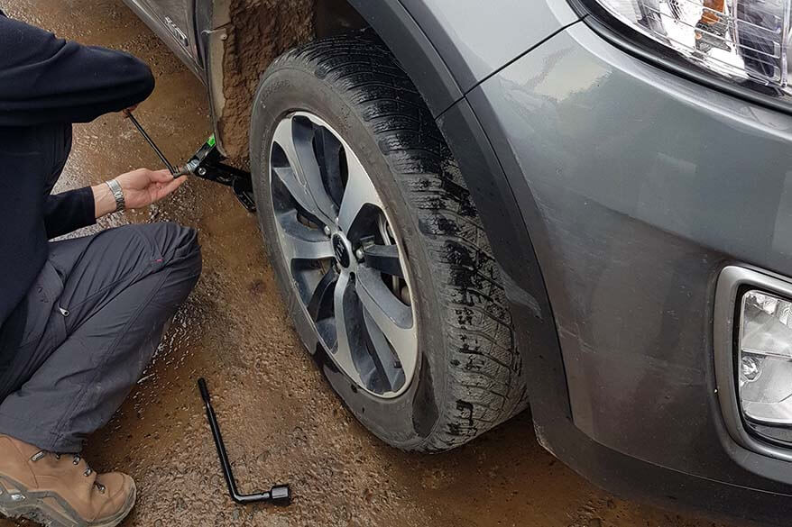 Flat tire in the Westfjords in Iceland