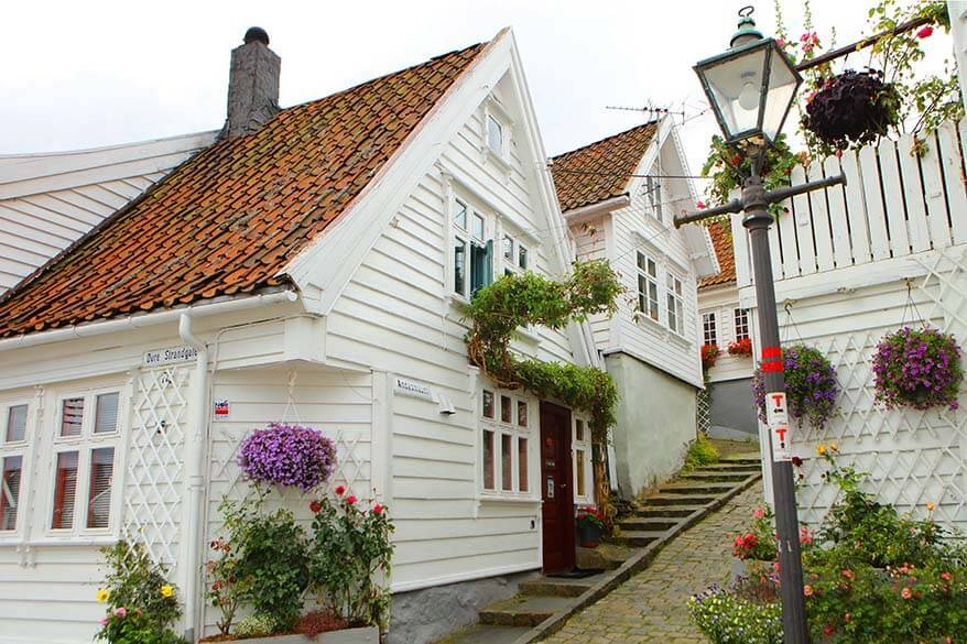 Gamle Stavanger - picturesque old town area with traditional white wooden houses