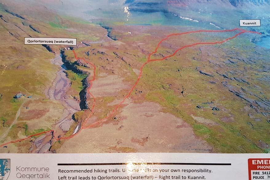 Hiking map for Kuannit and Qorlortorsuaq hikes in Qeqertarsuaq Greenland