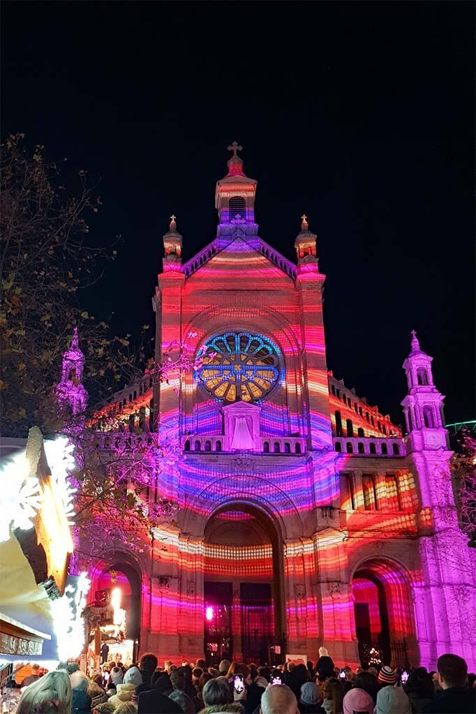Light projections on the St Catherine Church during festive season of Brussels Christmas market