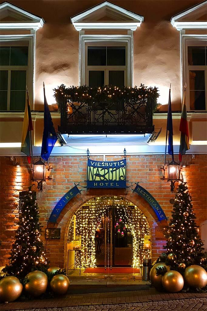Luxury Narutis hotel in Vilnius old town with Christmas decorations
