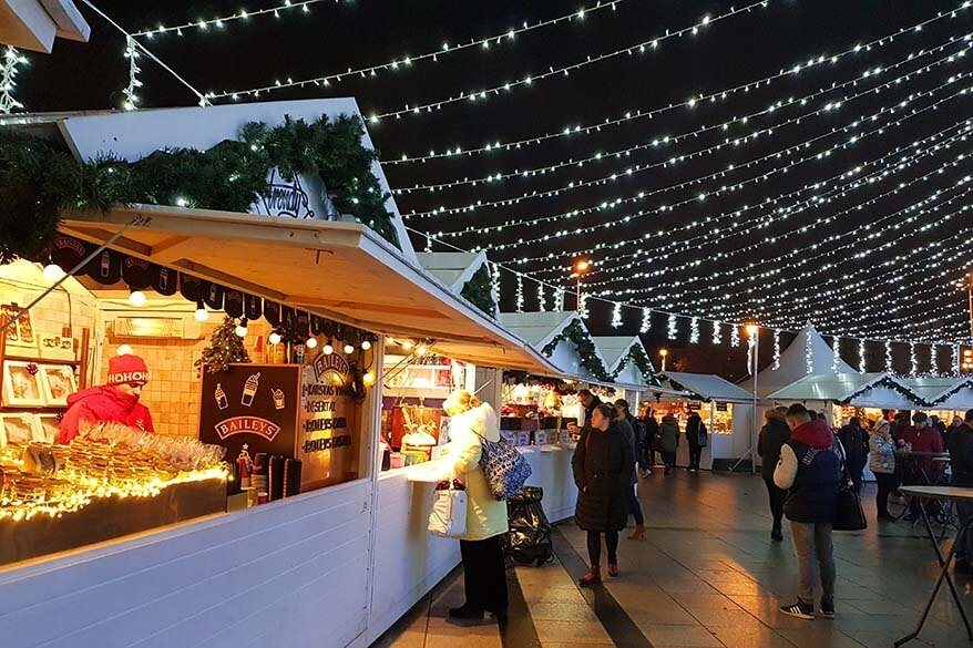 Market stalls at the Vilnius Christmas market