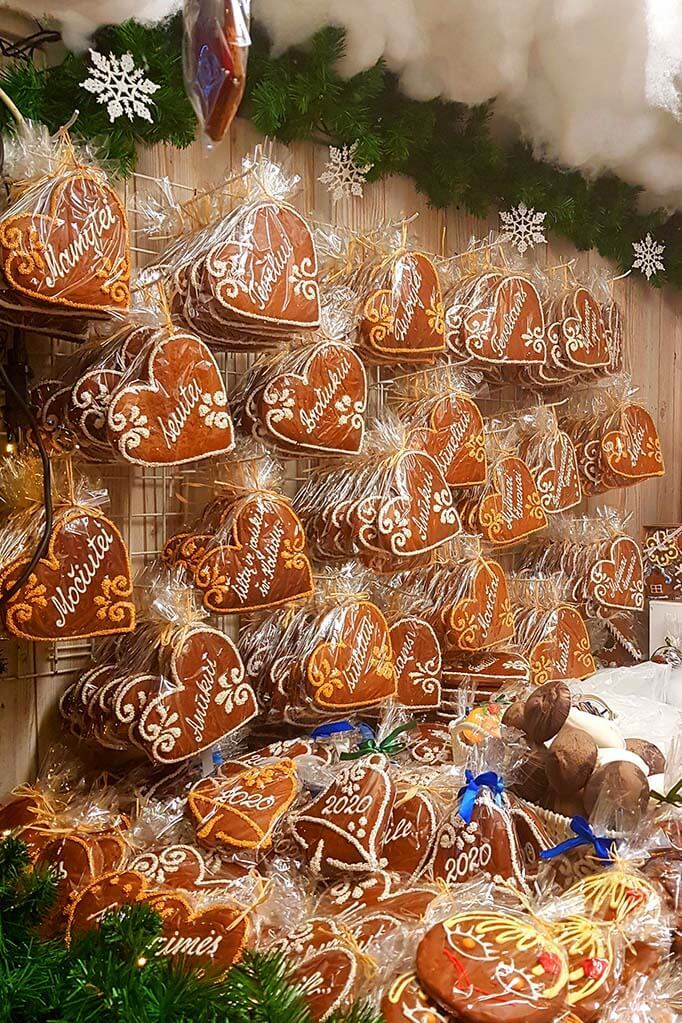 Meduoliai - Lithuanian gingerbread for sale at Vilnius Christmas market