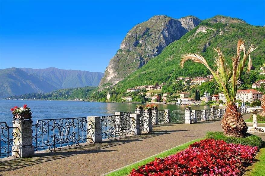 Menaggio lakeside promenade at Lake Como in Italy