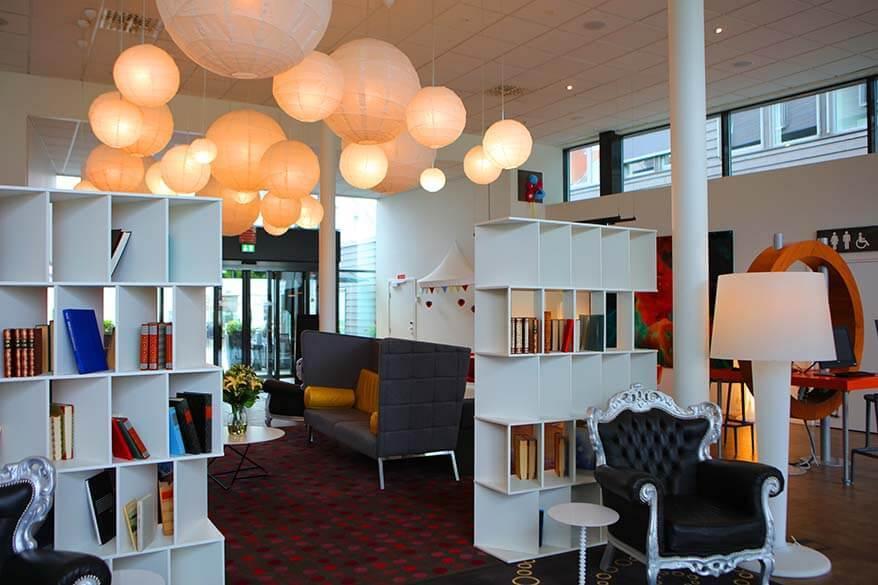Modern Scandinavian lobby of a 4 star hotel in Stavanger Norway