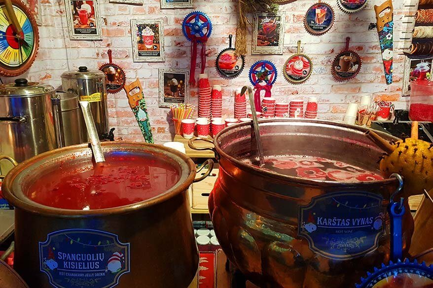 Mulled wine and hot cranberry drink for sale at a Christmas market in Vilnius in Lithuania