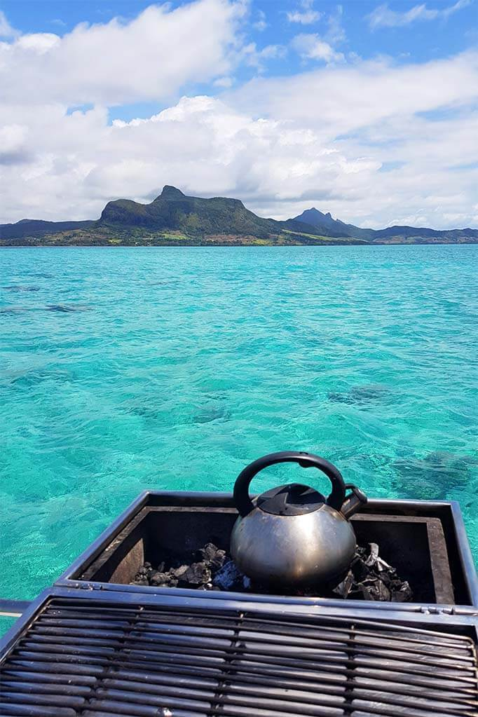 Preparing a bbq on a catamaran in Mauritius