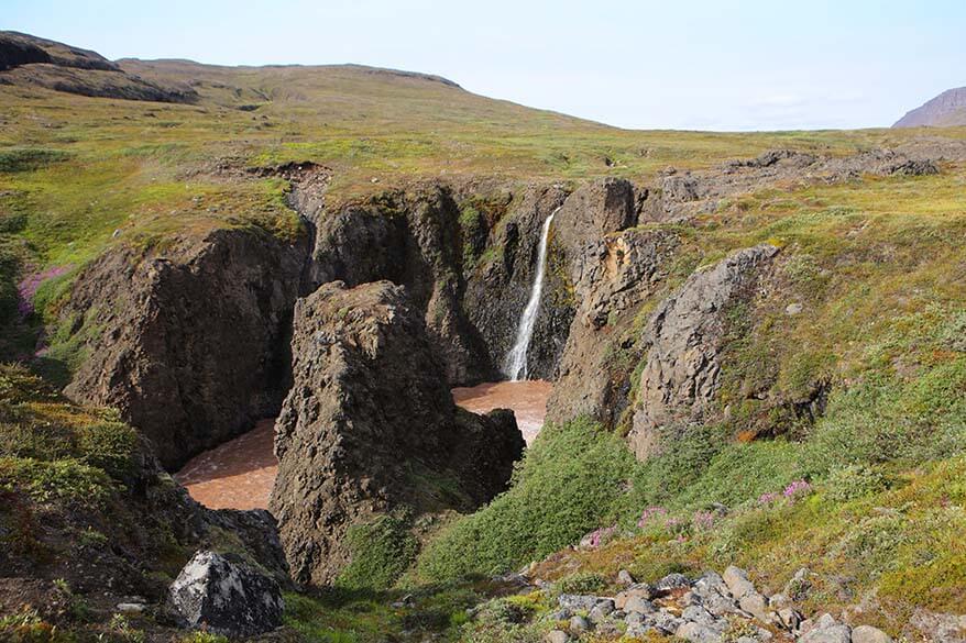 Qorlortorsuaq waterfall on Disko Island in Greenland