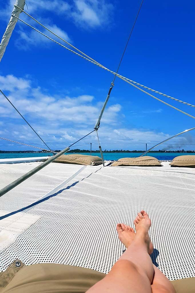 Relaxing on a catamaran in Mauritius